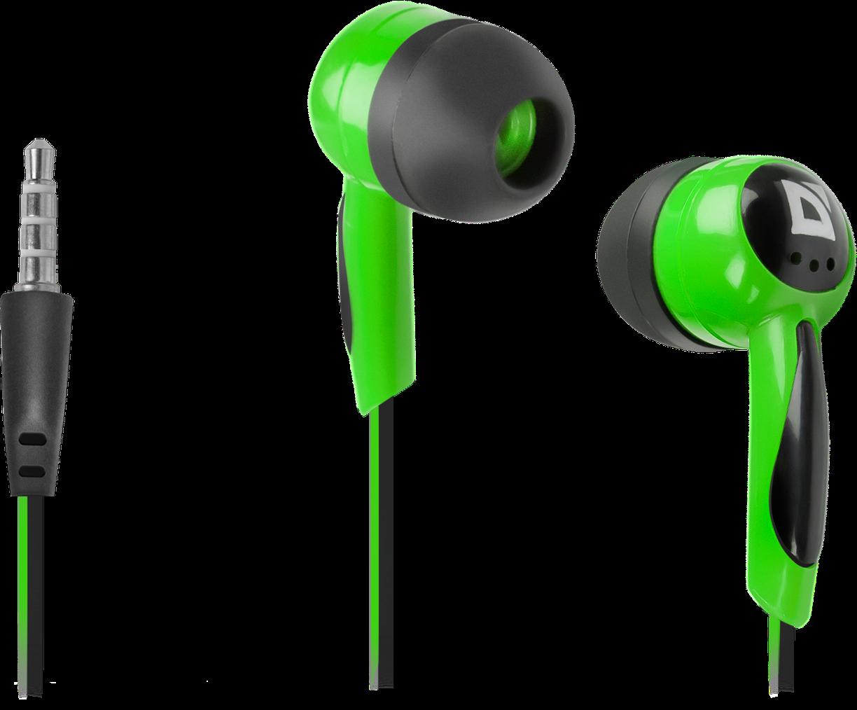 Наушники Defender Basic 604, вкладыши, 1,1 м, зеленый