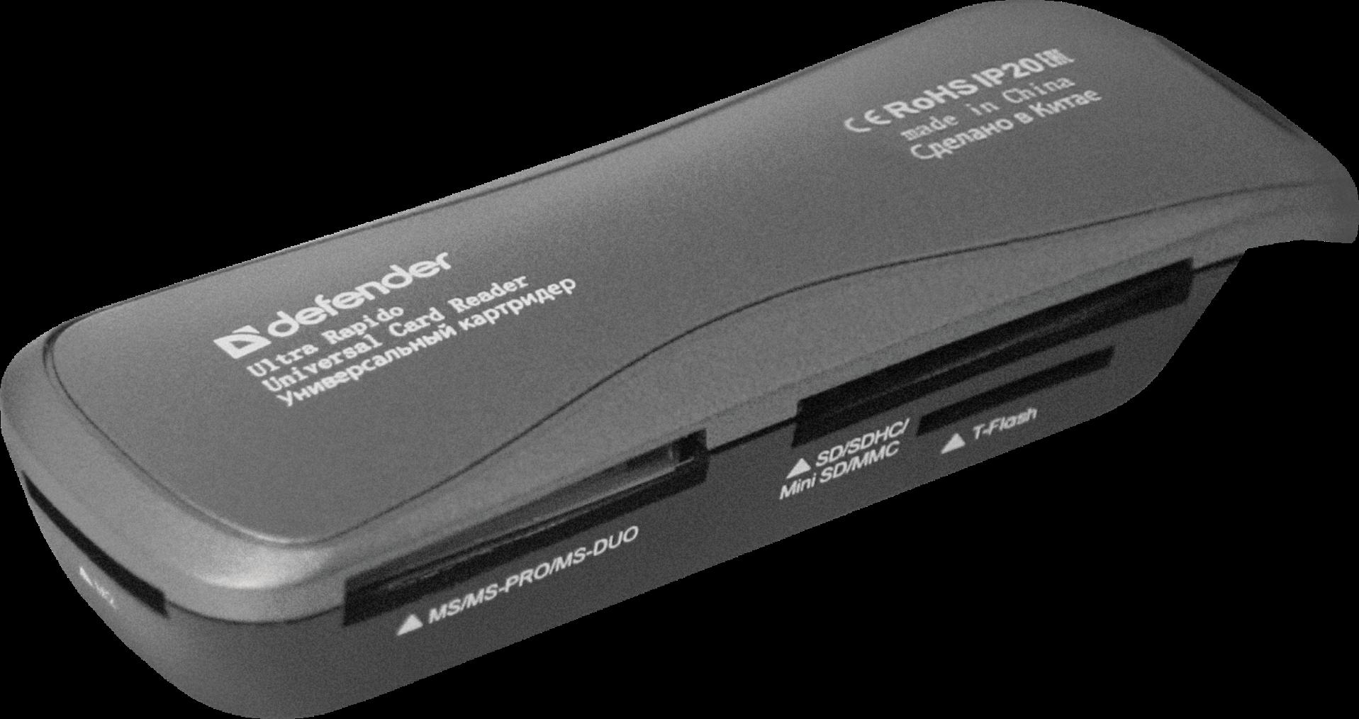 Универсальный картридер DEFENDER Ultra Rapido USB 2.0, 4 слота