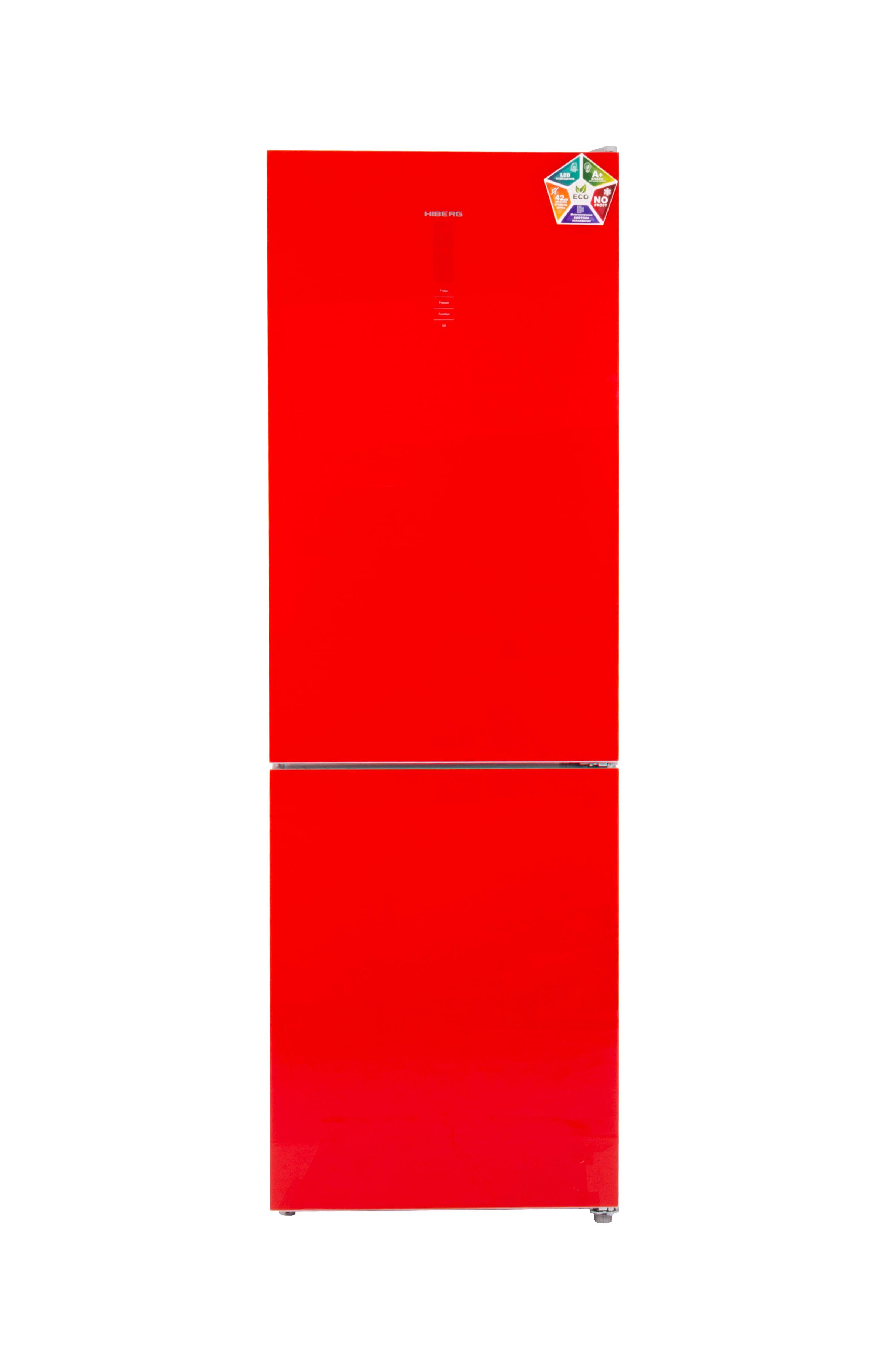 Холодильник HIBERG RFC-311DX NFGR, красное стекло