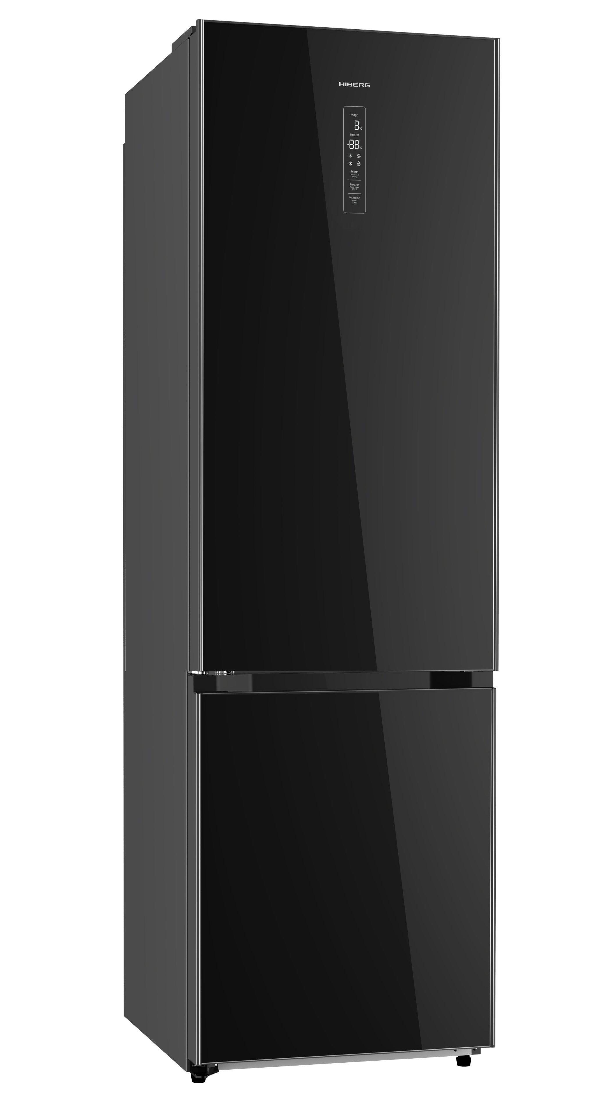 Холодильник HIBERG RFC-392D NFGB, черное стекло